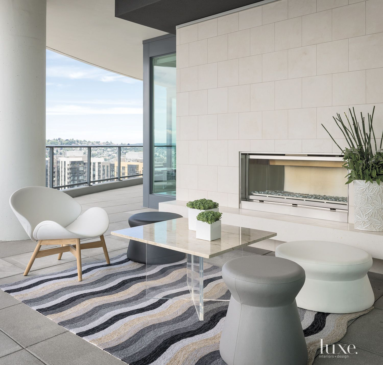 Modern White Terrace Seating Area