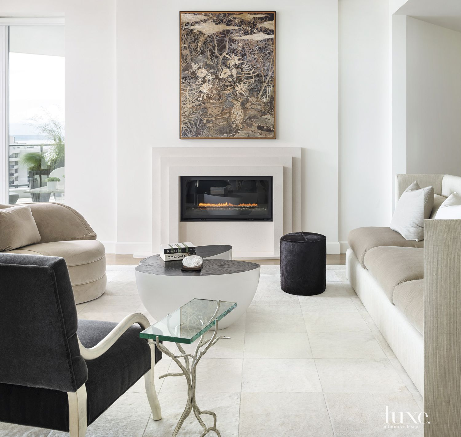 Modern White Living Area Fireplace