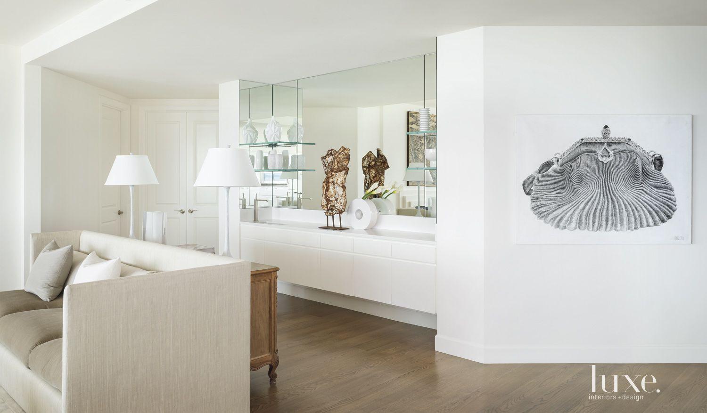 Modern White Living Room Bar Area