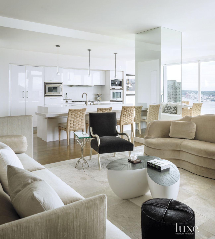 Modern White Open Plan Living Room
