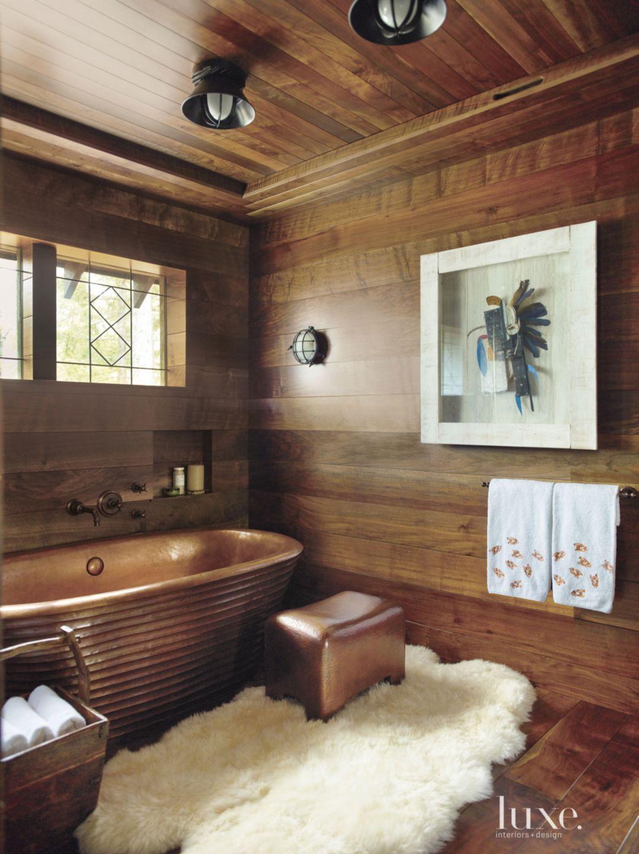 Country Wood Paneled Master Bathroom
