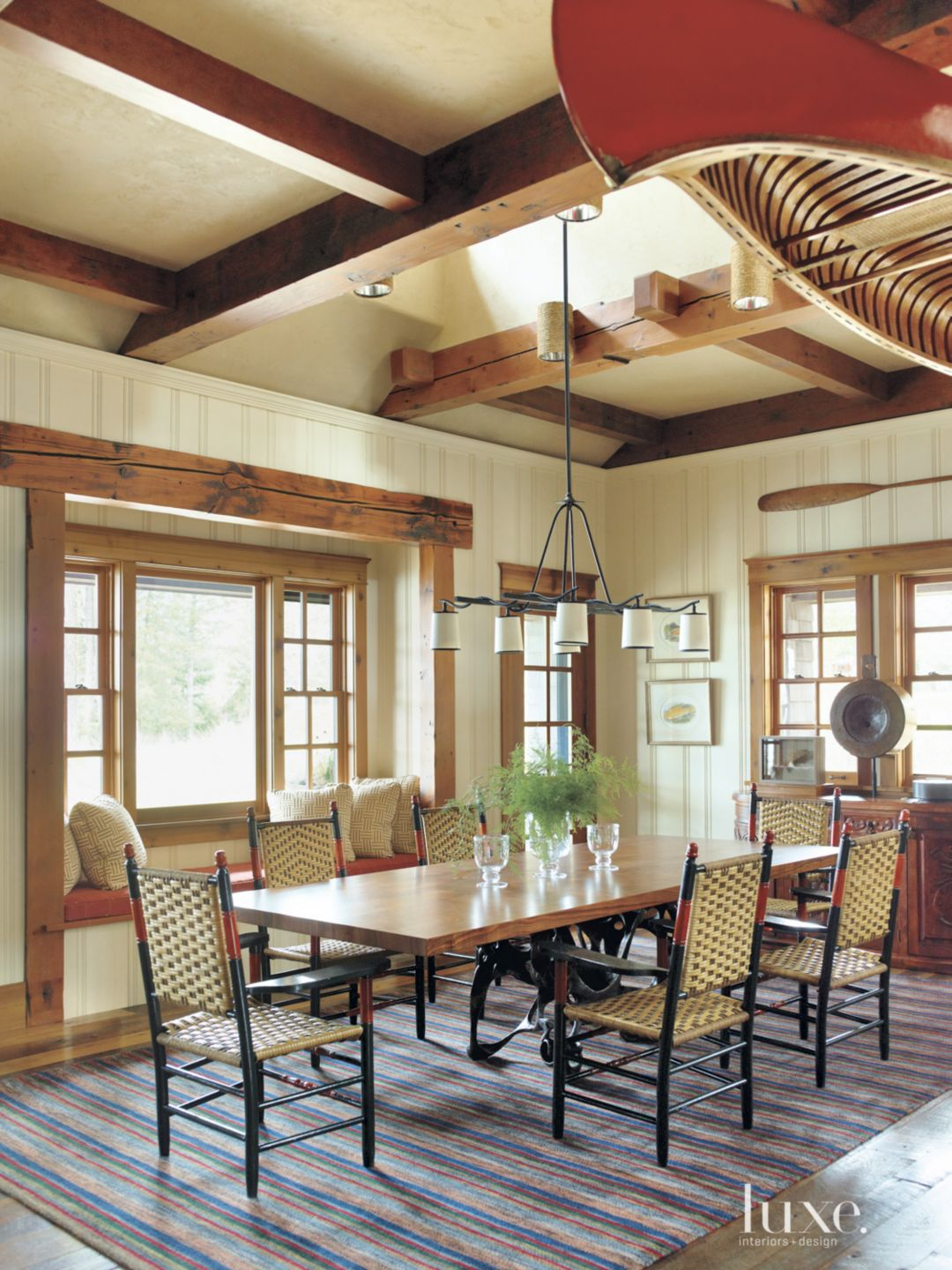 Country Cream Dining Room with Window Seat