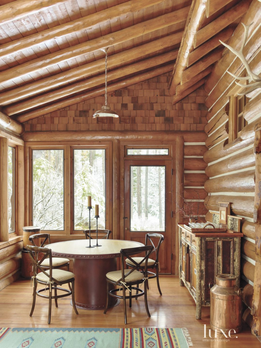 Country Guesthouse Wood Paneled Dining Area