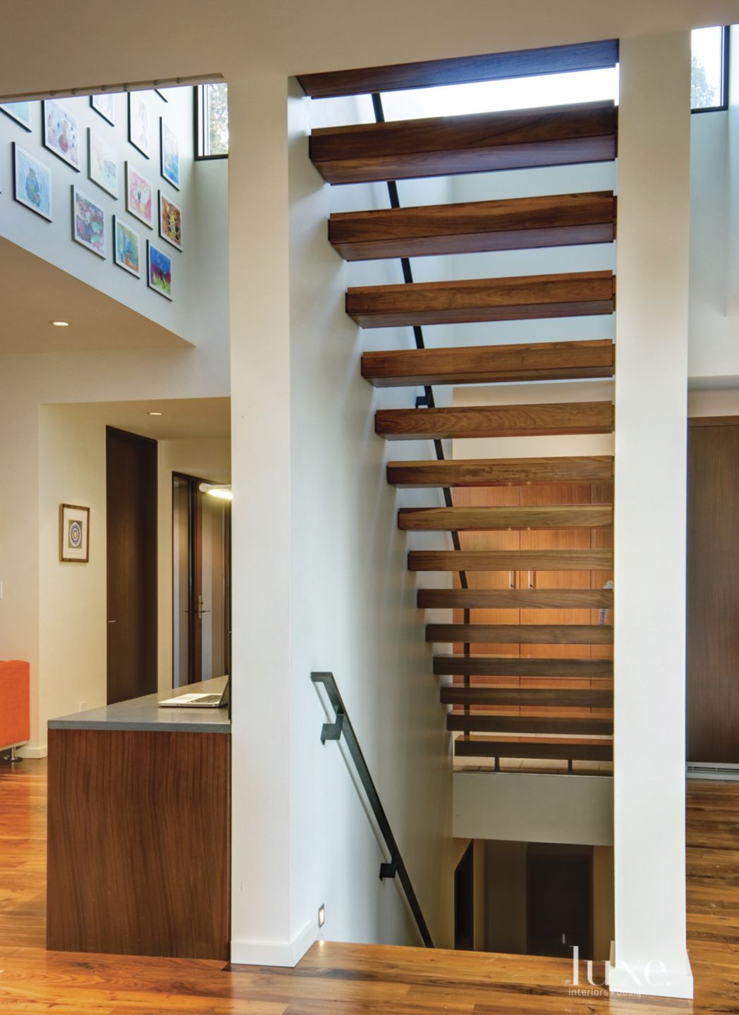 Modern White Stair with Floating Treads