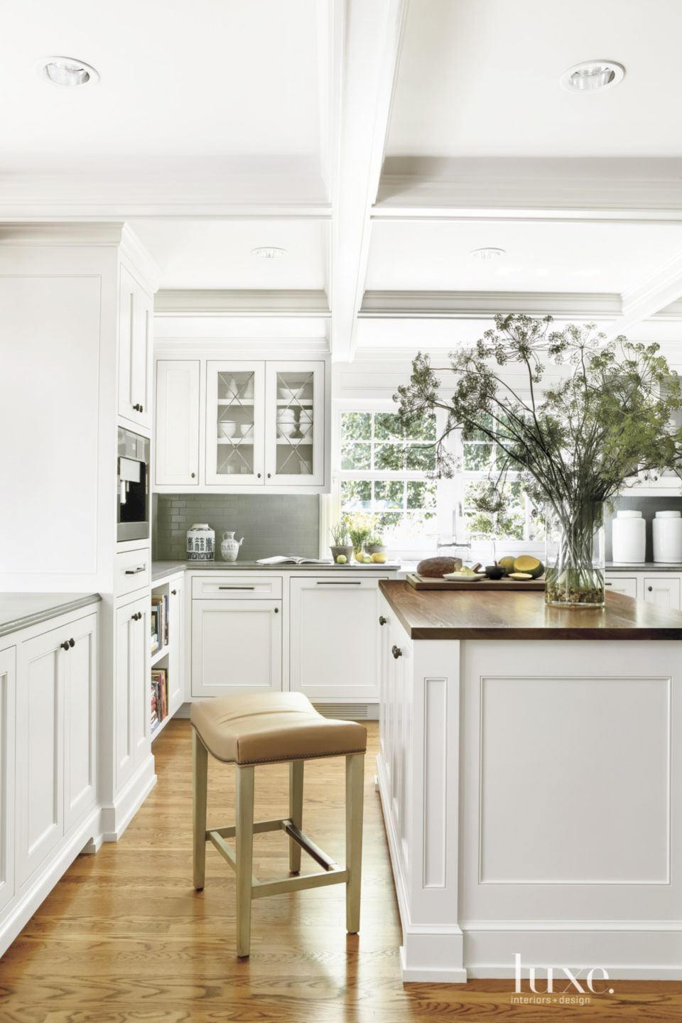 Traditional White Kitchen with Hidden Appliances