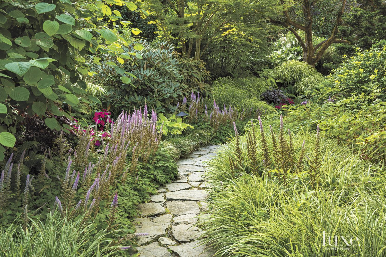 Traditional Neutral Stone Path with Lush Grasses