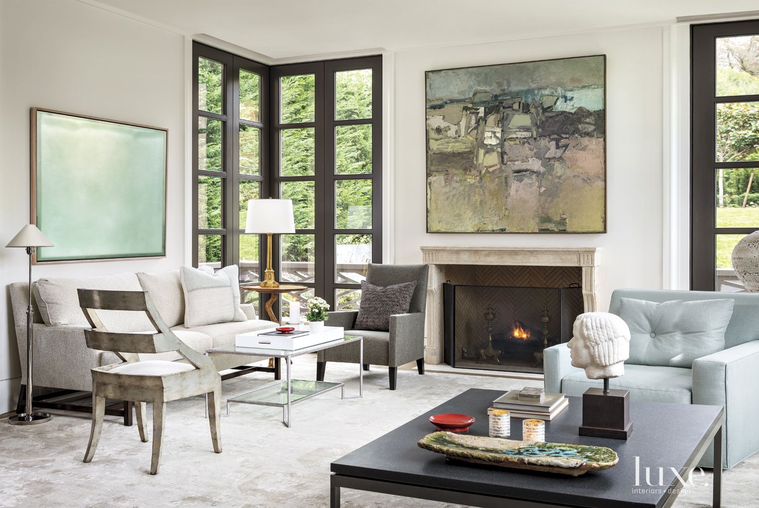 Contemporary White Living Room with Silver-Leafed Chair