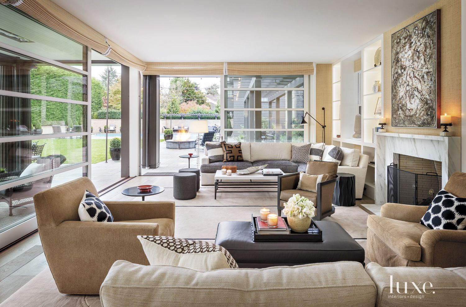 Contemporary Neutral Family Room with Large Sliding Doors