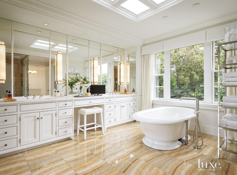 Contemporary White Bathroom with Honey Onyx Flooring