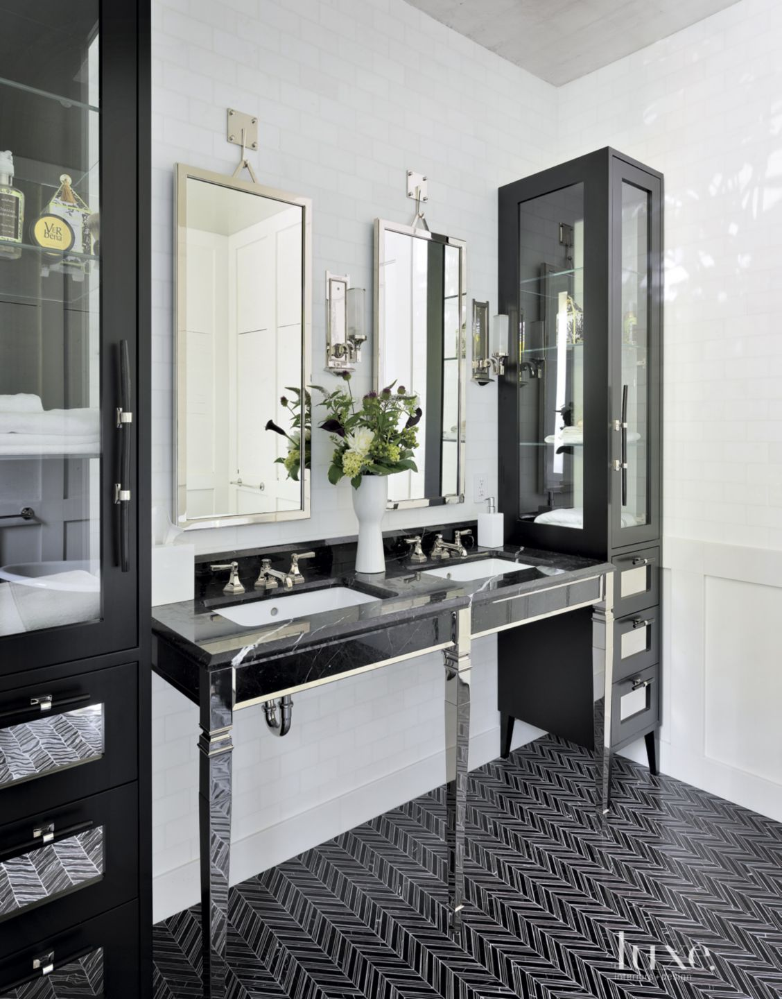 Contemporary Black Bathroom with Custom Cabinets