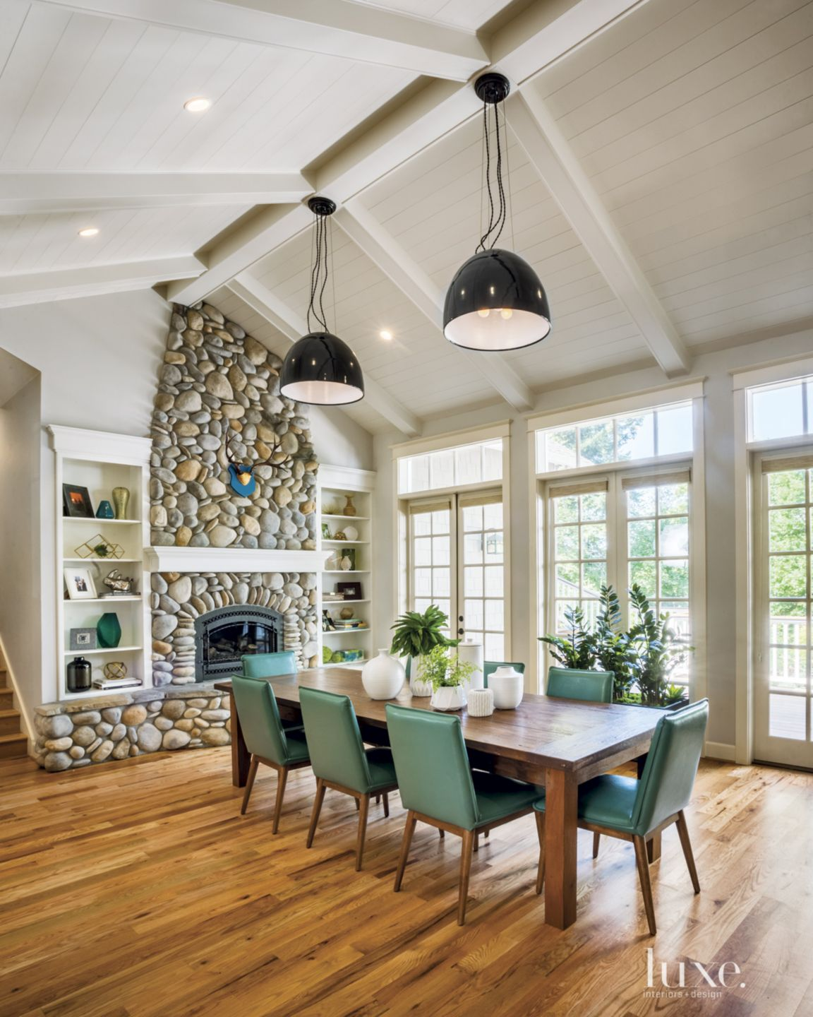 Contemporary Neutral Dining Room with River-Rock Fireplace
