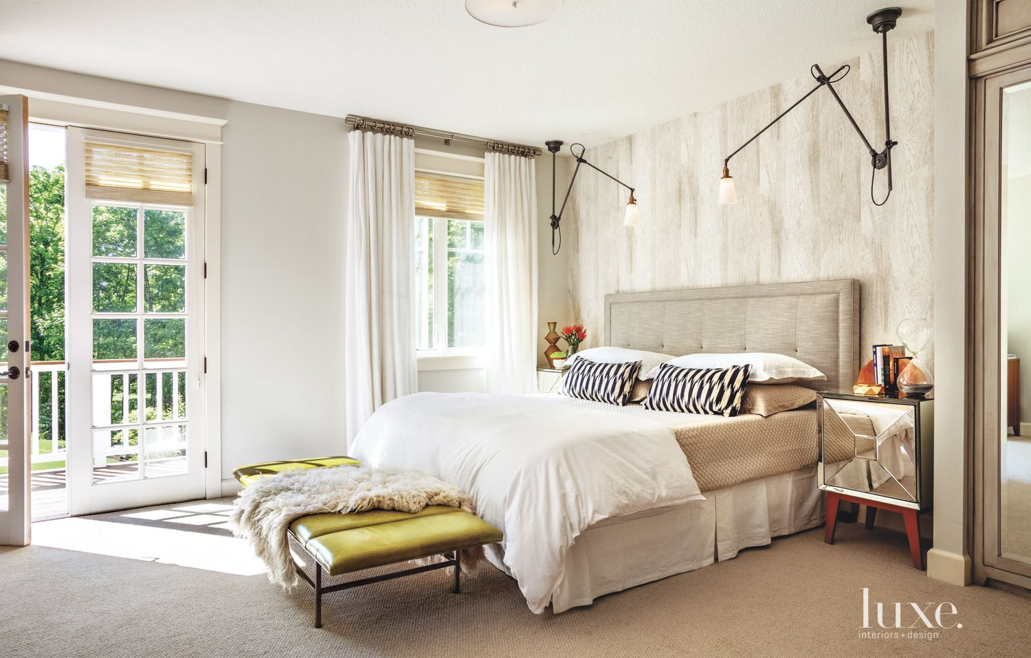 Contemporary Neutral Bedroom with Swing-Arm Sconces