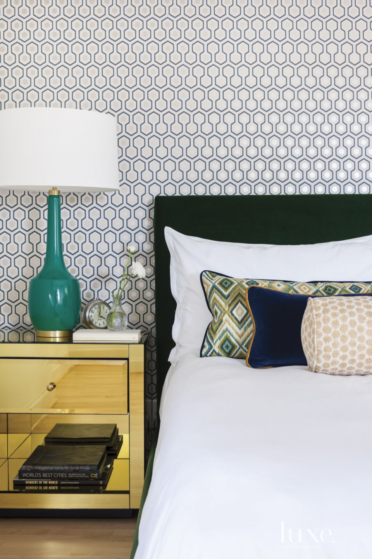 Modern Neutral Bedroom with Hexagon Wallpaper