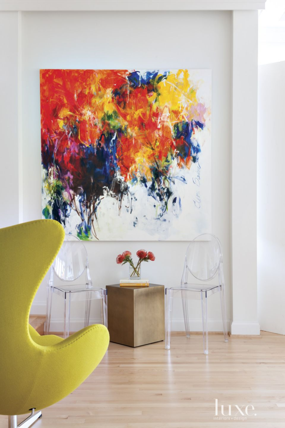 Modern Neutral Living Room with Bold Oil Painting