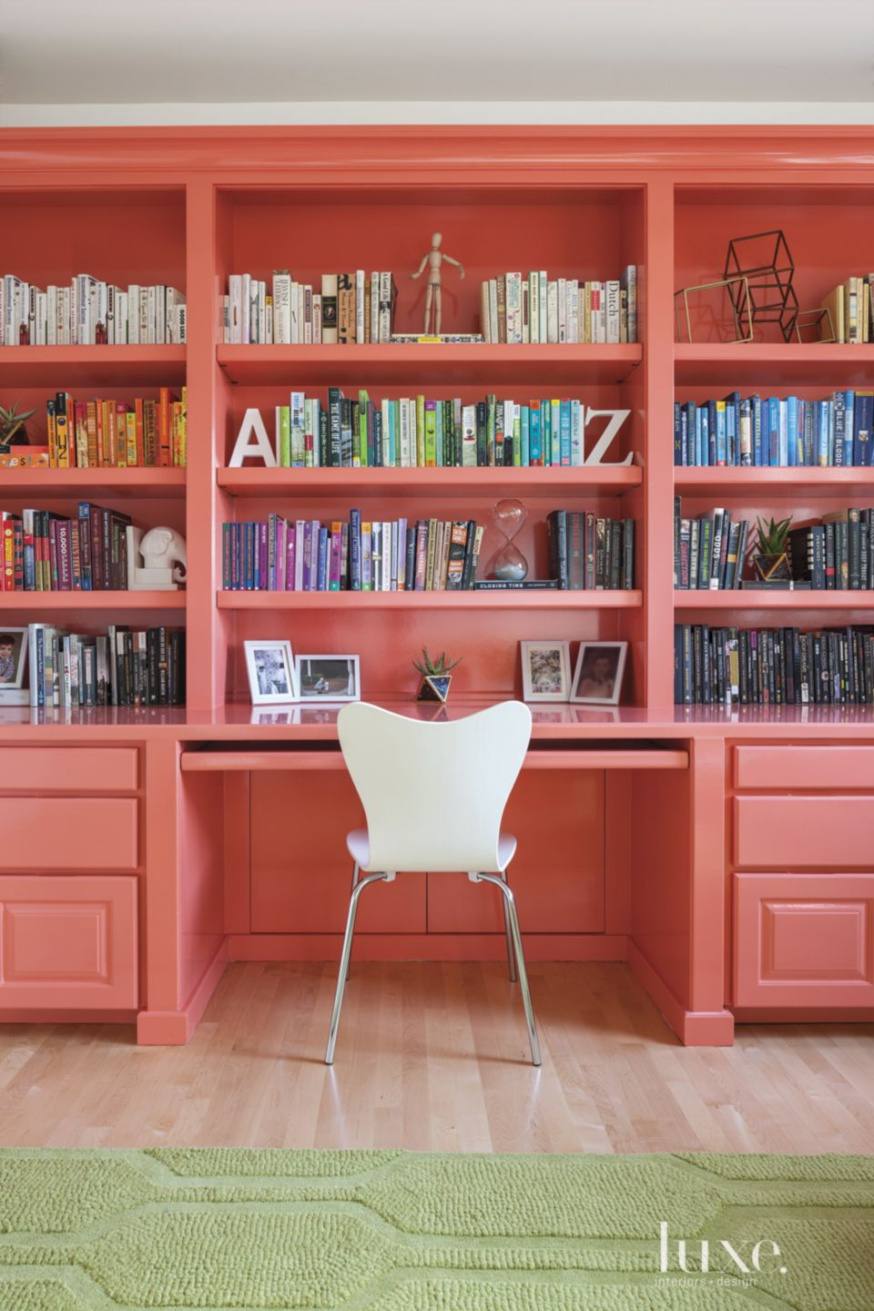 Modern Coral Study with Bookshelves
