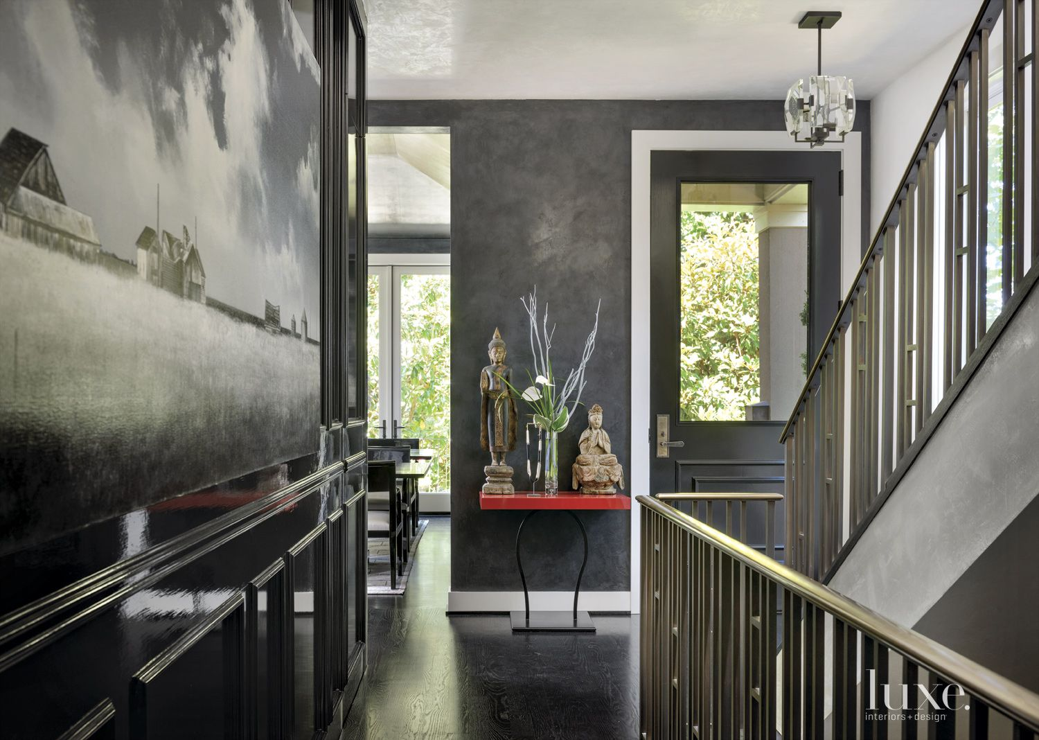 Contemporary Black Entry with Black-Oak Floors