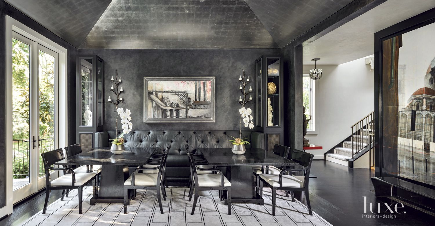 Contemporary Black Dining Room with Banquette