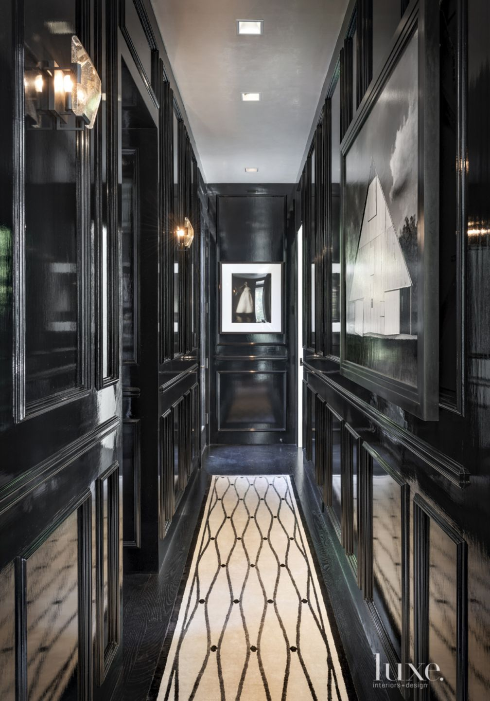Contemporary Black Hallway with Lacquered Walls