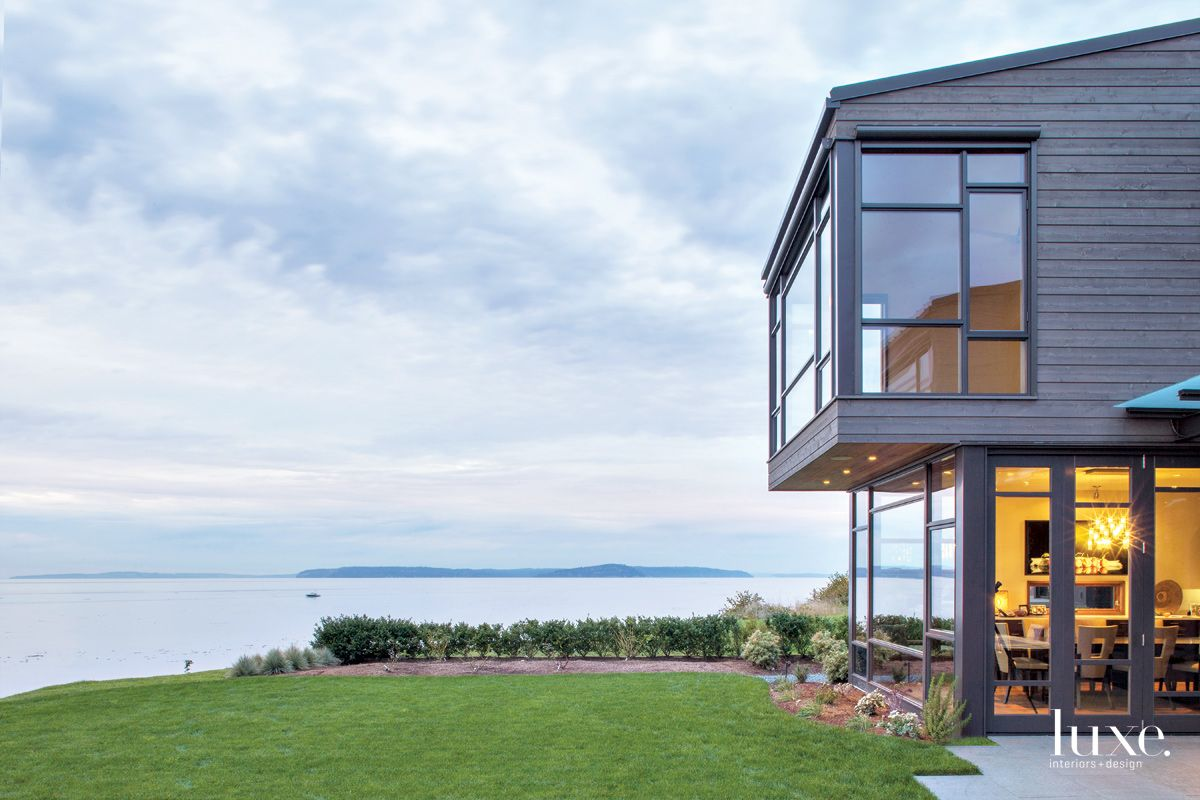 Contemporary Brown Exterior with Waterfront Views