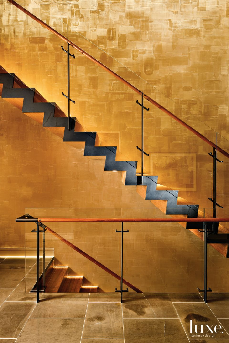 Modern Gold Floating Entry Stairway