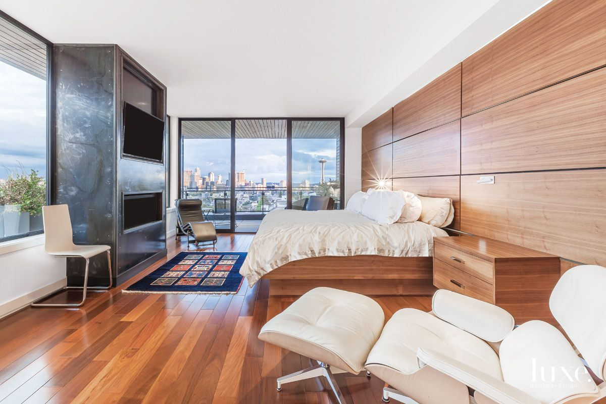 White Modern Master Bedroom with Rift-Sawn Walnut Bed