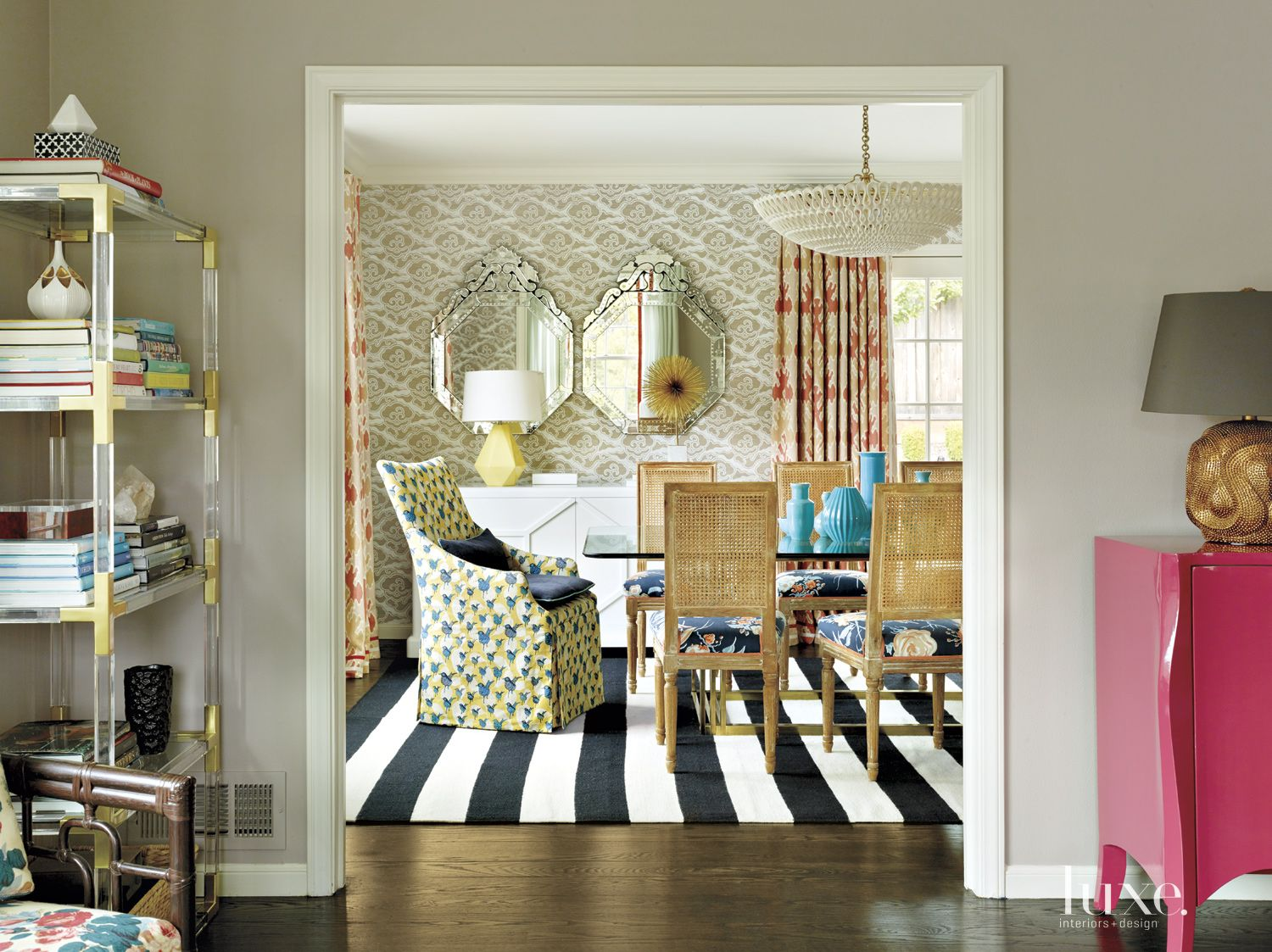 Eclectic Multi-Colored Dining Room with Striped Rug