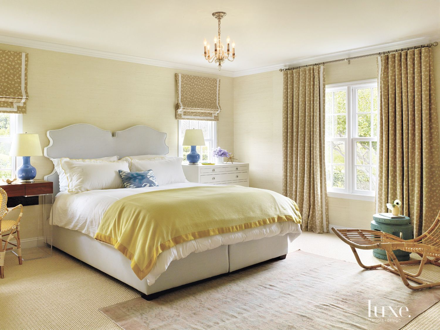 Eclectic Pale Yellow Master Bedroom