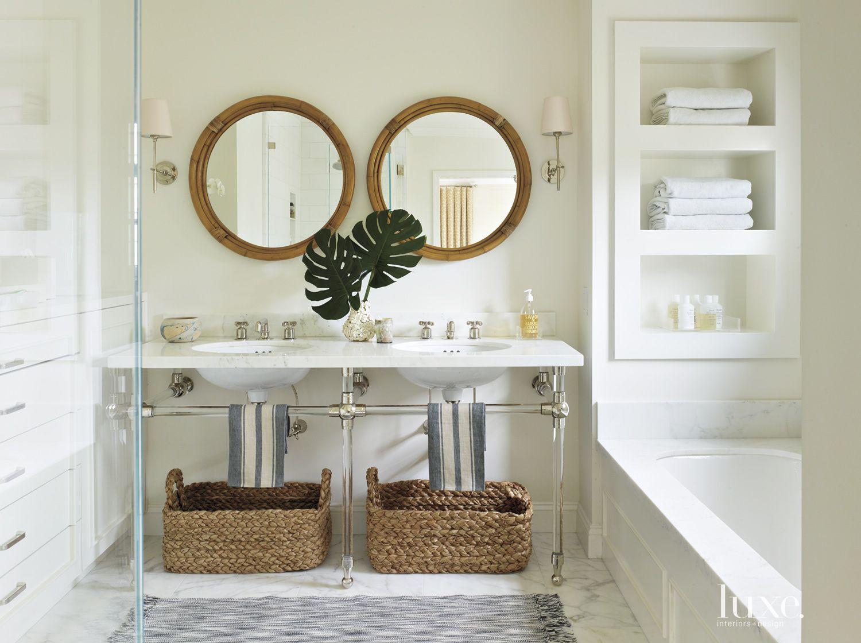 Contemporary White Master Bathroom