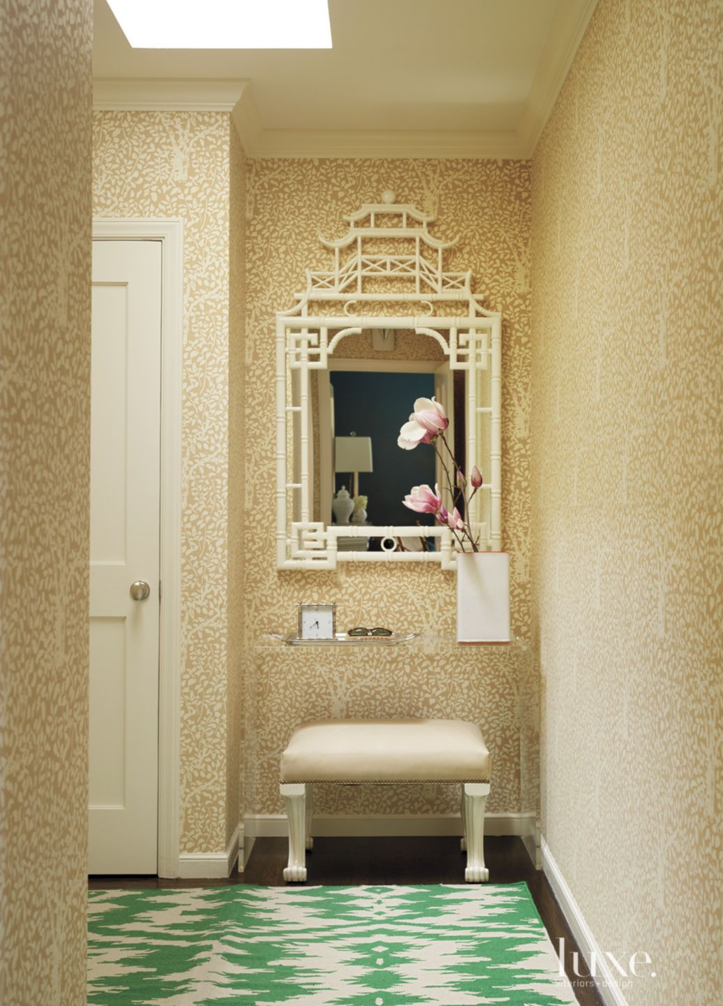 Eclectic Hallway with Gold Wallpaper