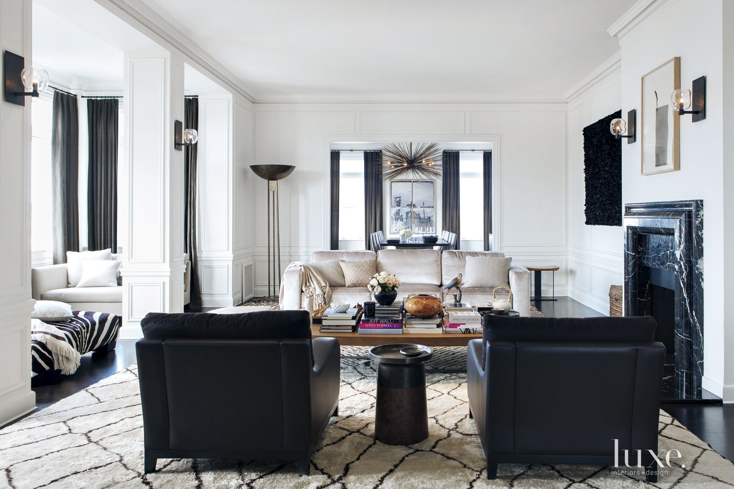 Transitional White Living Room with Moroccan Rug