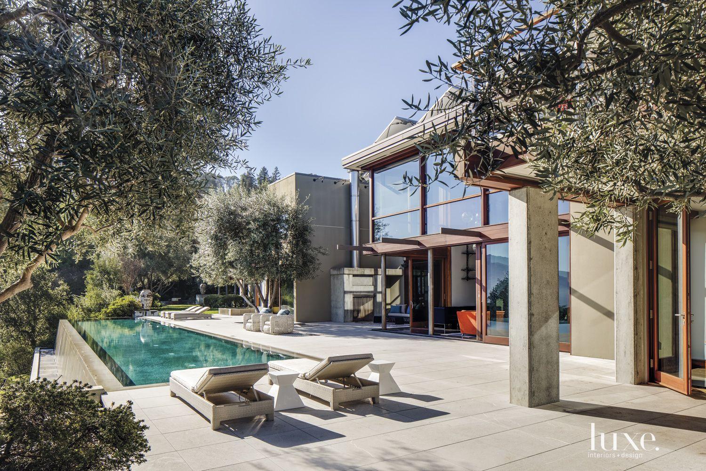 Contemporary Limestone Poolside Terrace