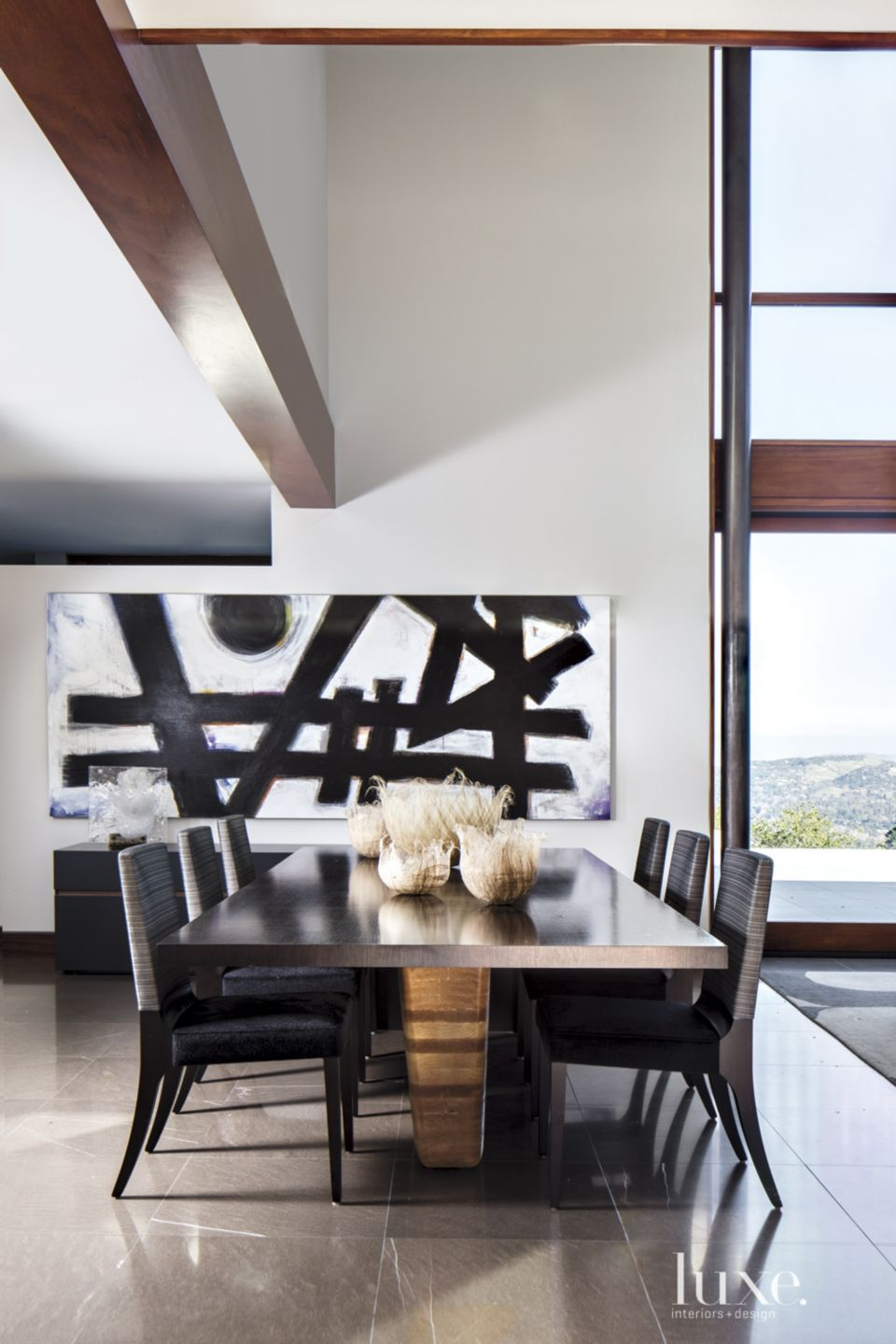 Contemporary White Dining Room with Commissioned Art