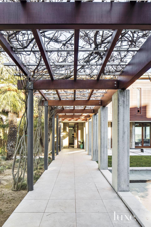 Contemporary Mahogany-and-Concrete Trellis
