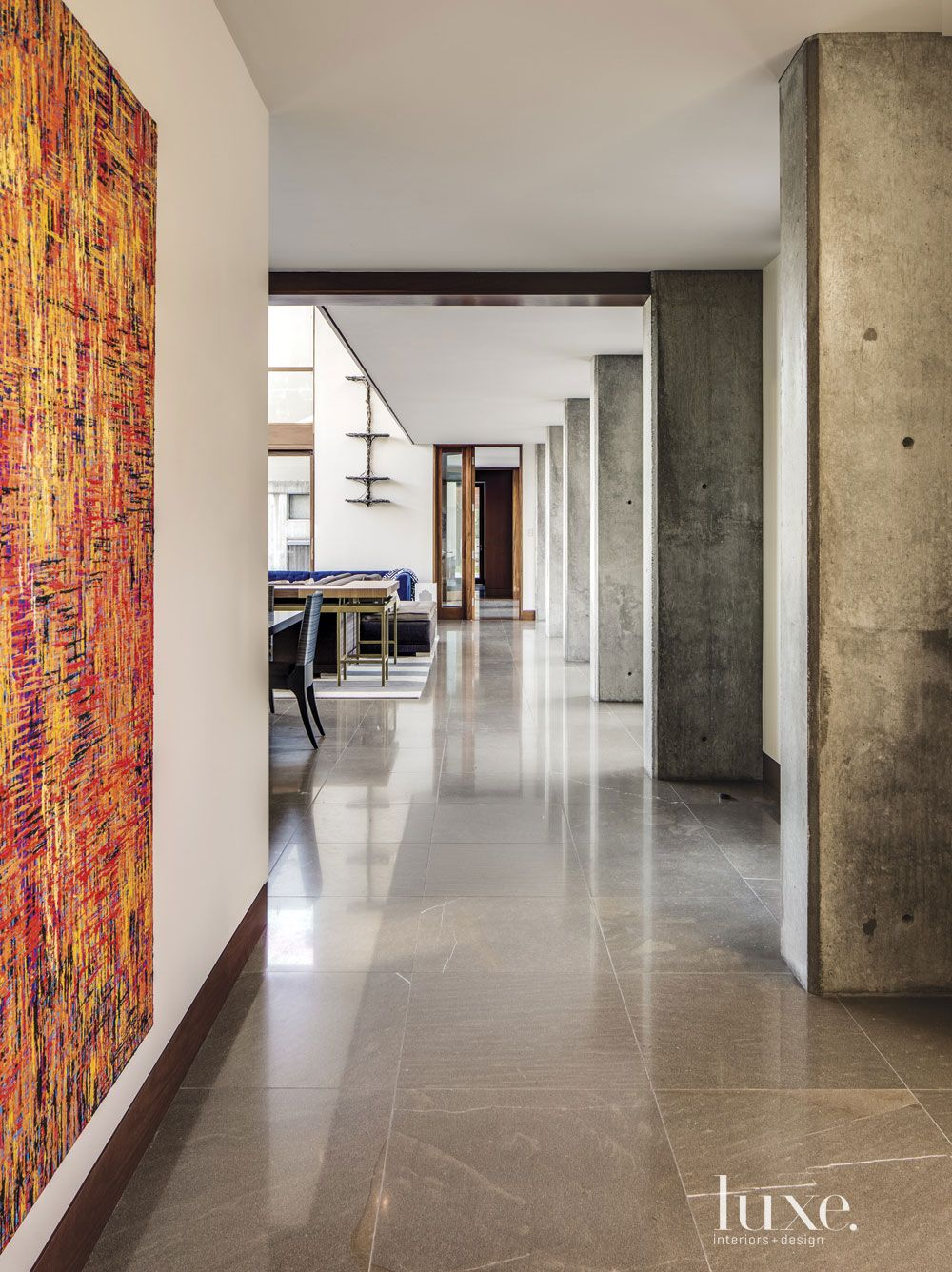 Contemporary Cream Hallway with Limestone Floors