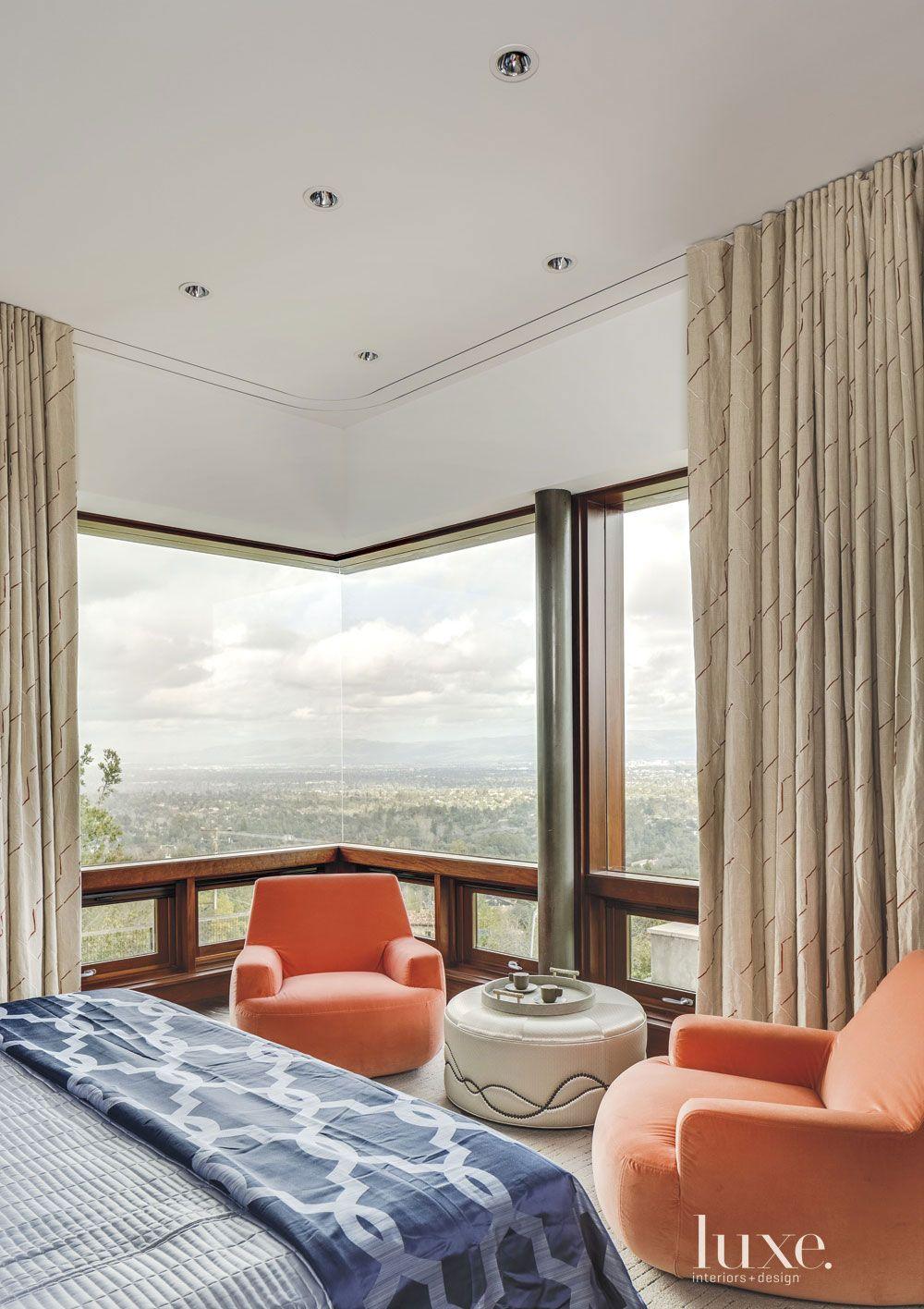 Contemporary Cream Master Bedroom Seating Area