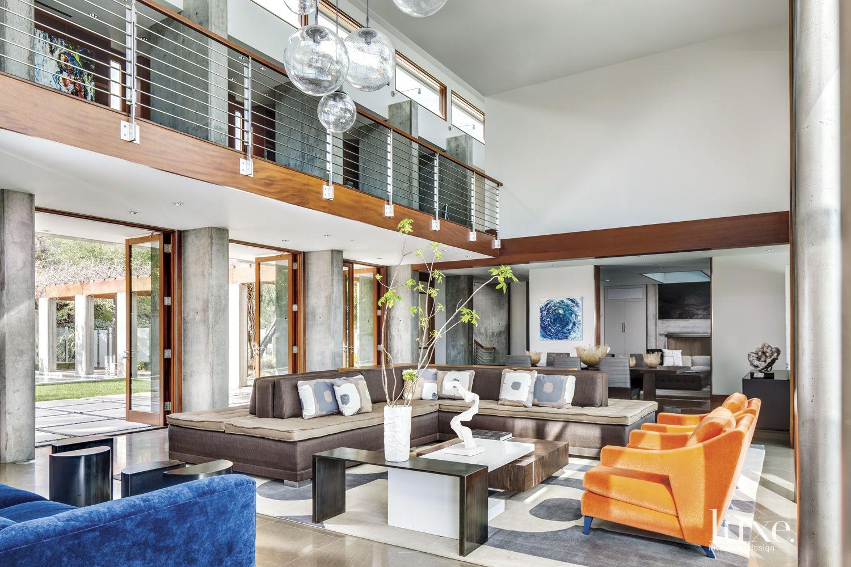 Contemporary Cream Great Room with Balcony
