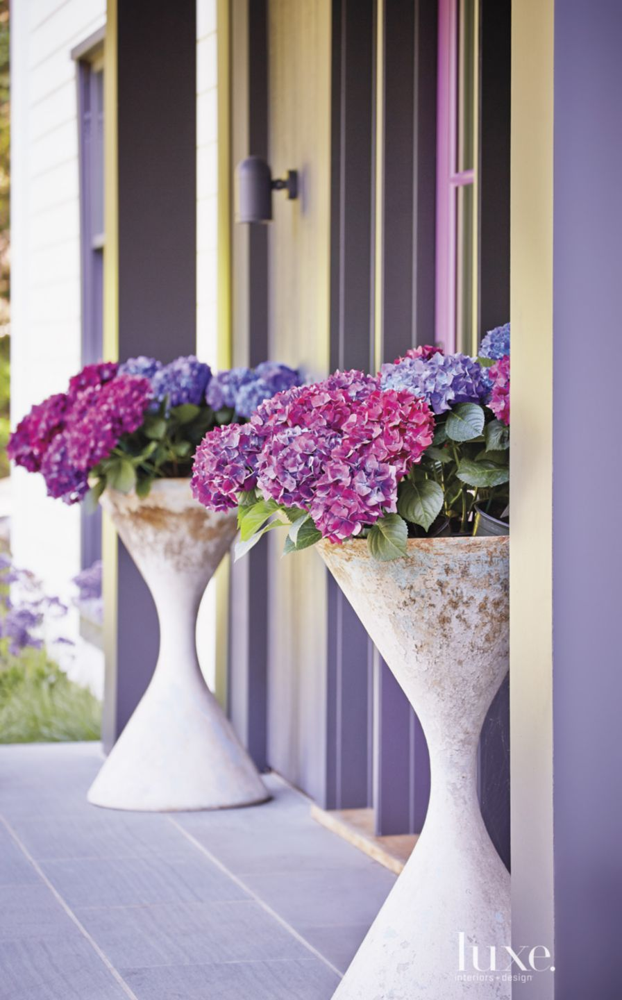 Eclectic Purple Entry with Planters