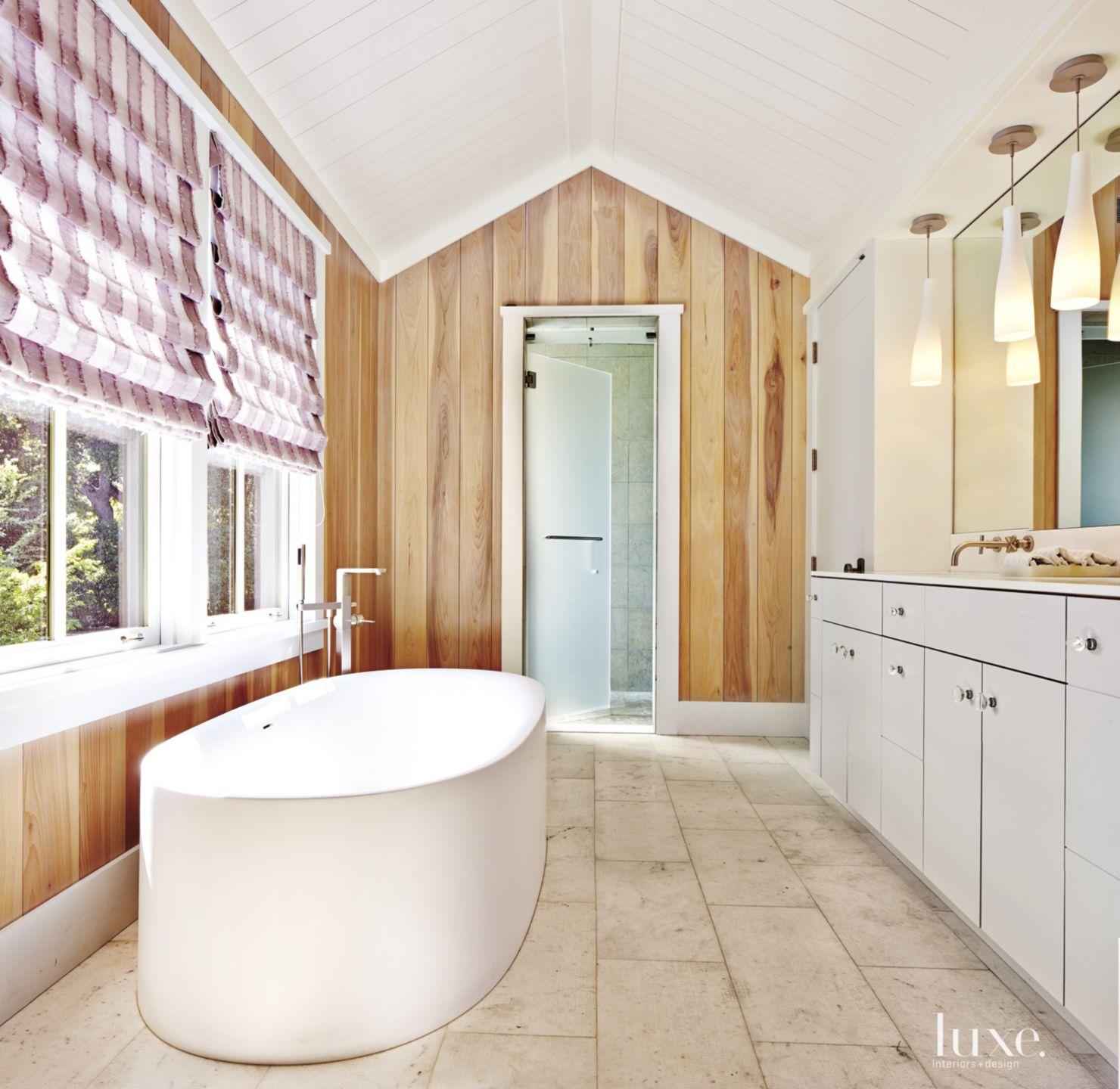 Contemporary Neutral Bathroom with Cedar Siding