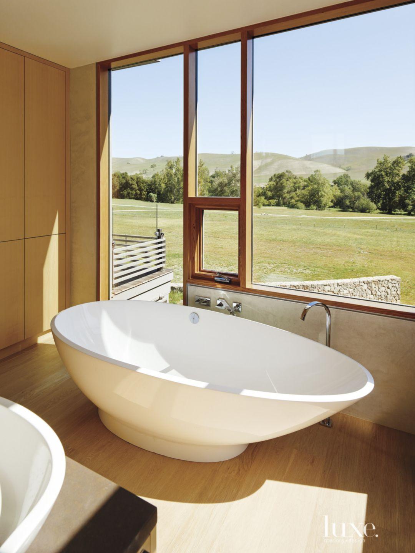 Modern Neutral Bathroom with Oval Tub