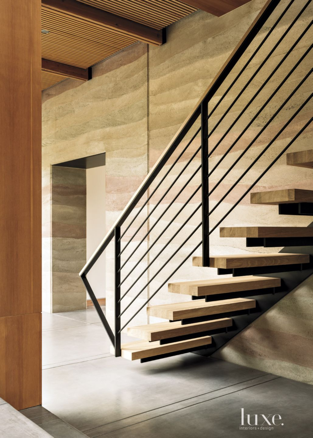 Modern Neutral Staircase with Wood Treads