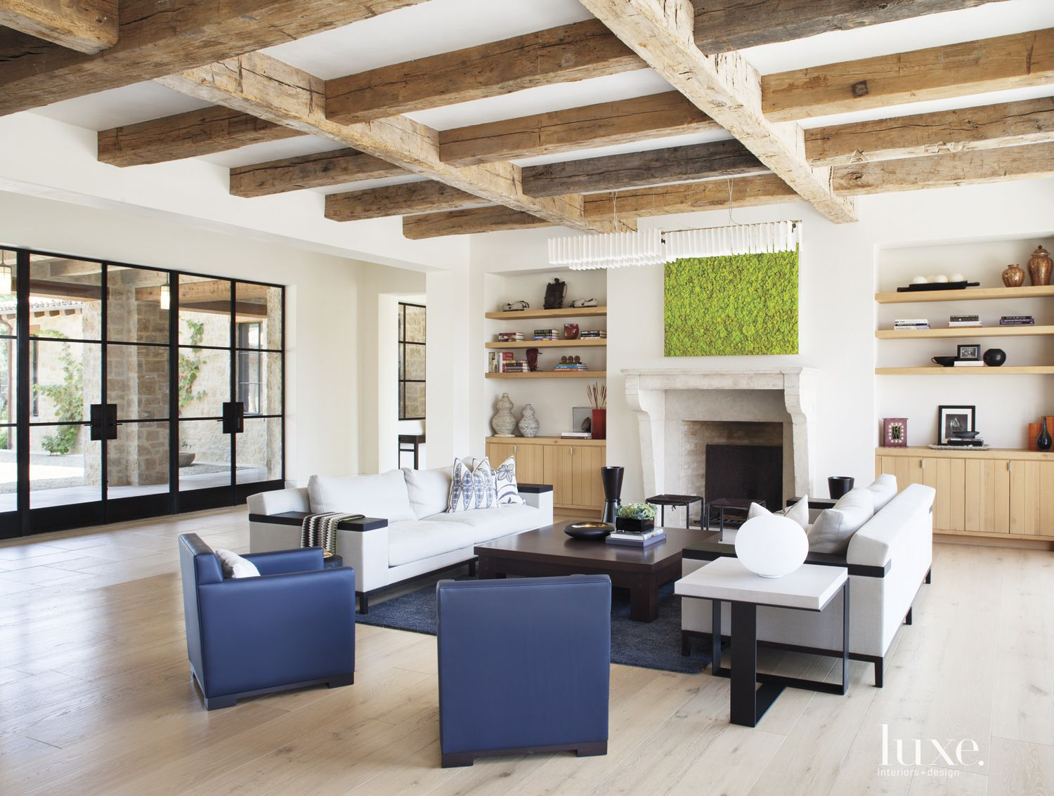Transitional White Living Room with Barn Beams