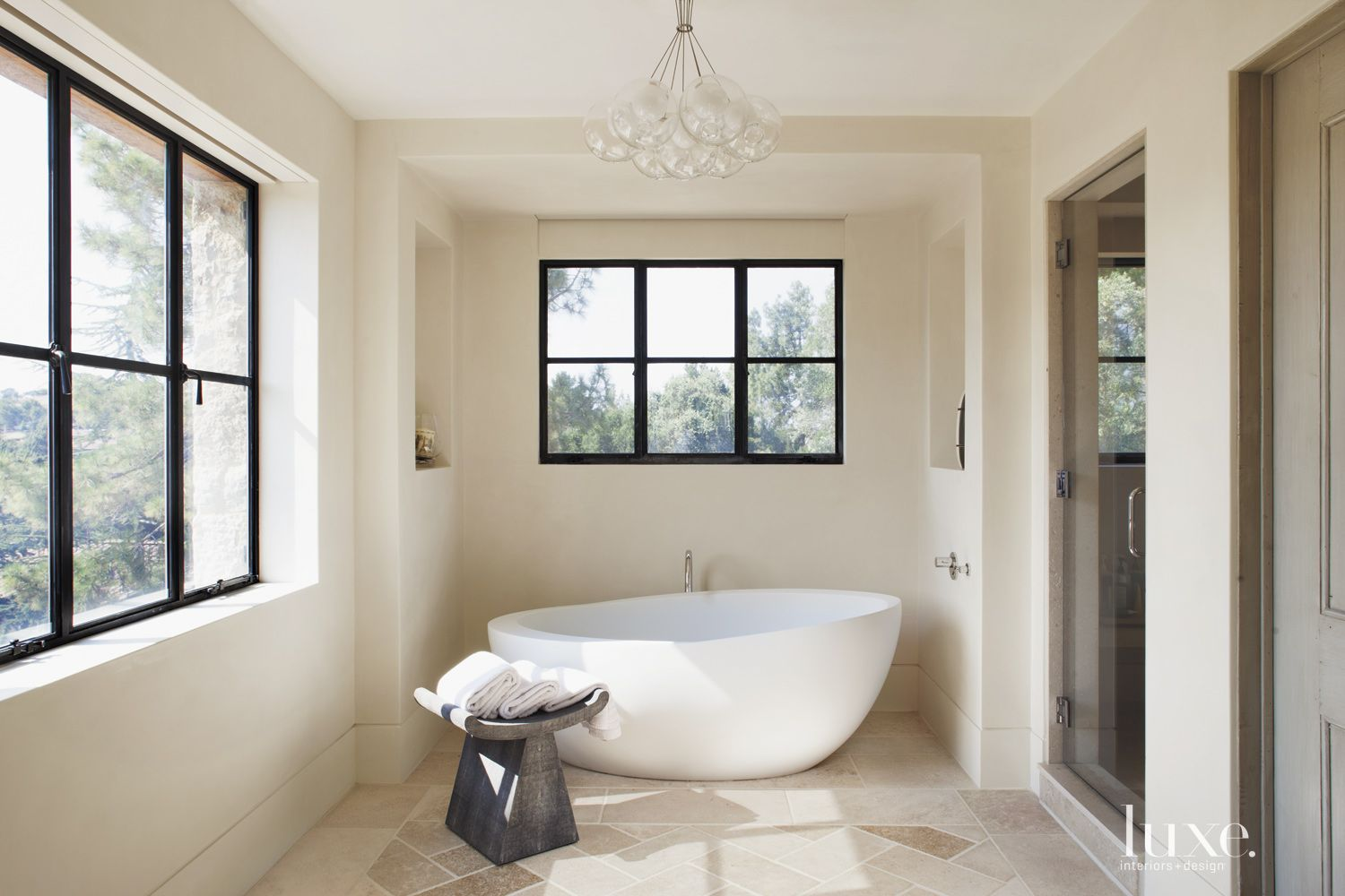 Transitional Cream Bathroom with Bubble Pendant