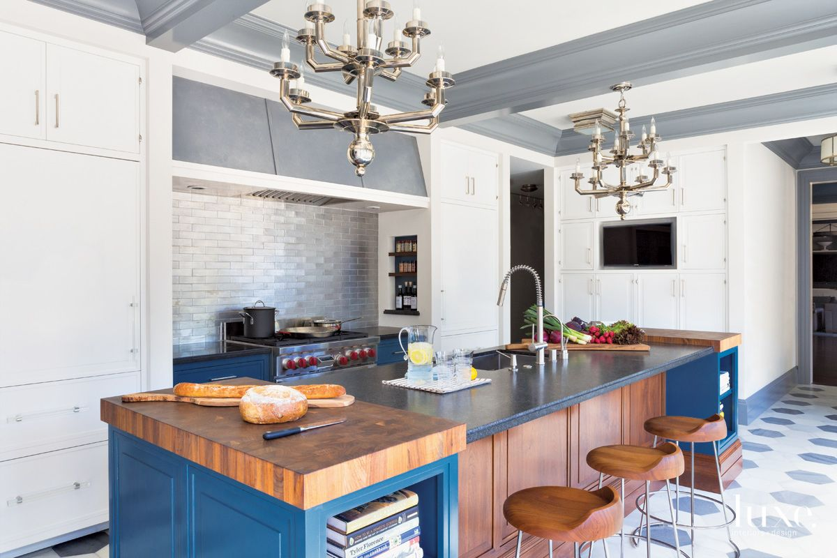 Traditional White Kitchen with Blue Island