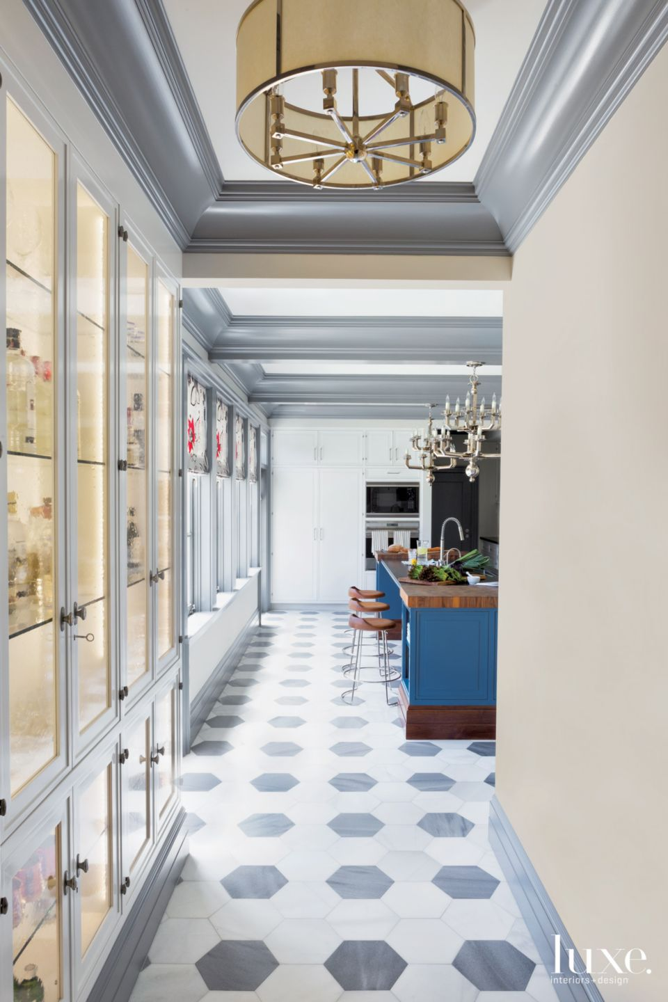 Eclectic Gray Kitchen Hall with Marble Flooring