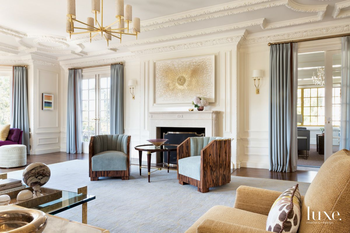 Traditional Cream Living Room SItting Area with Art Deco Chairs