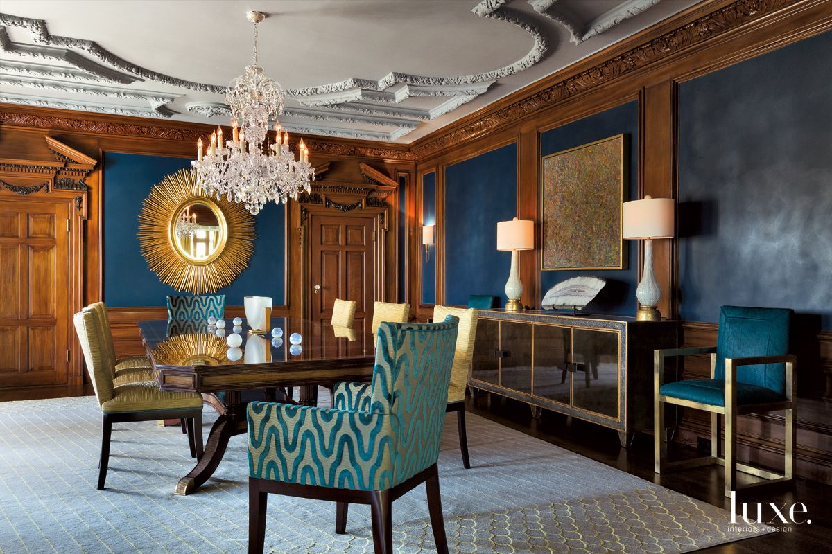 Traditional Blue Dining Room with Mahogany Table