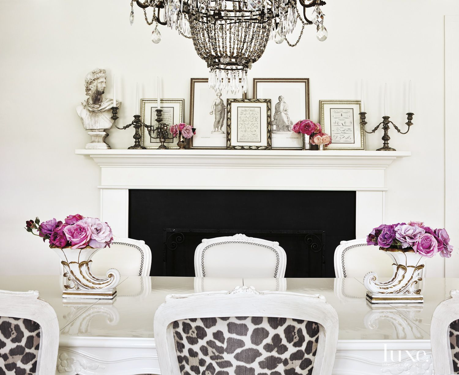 Contemporary White Dining Room Fireplace