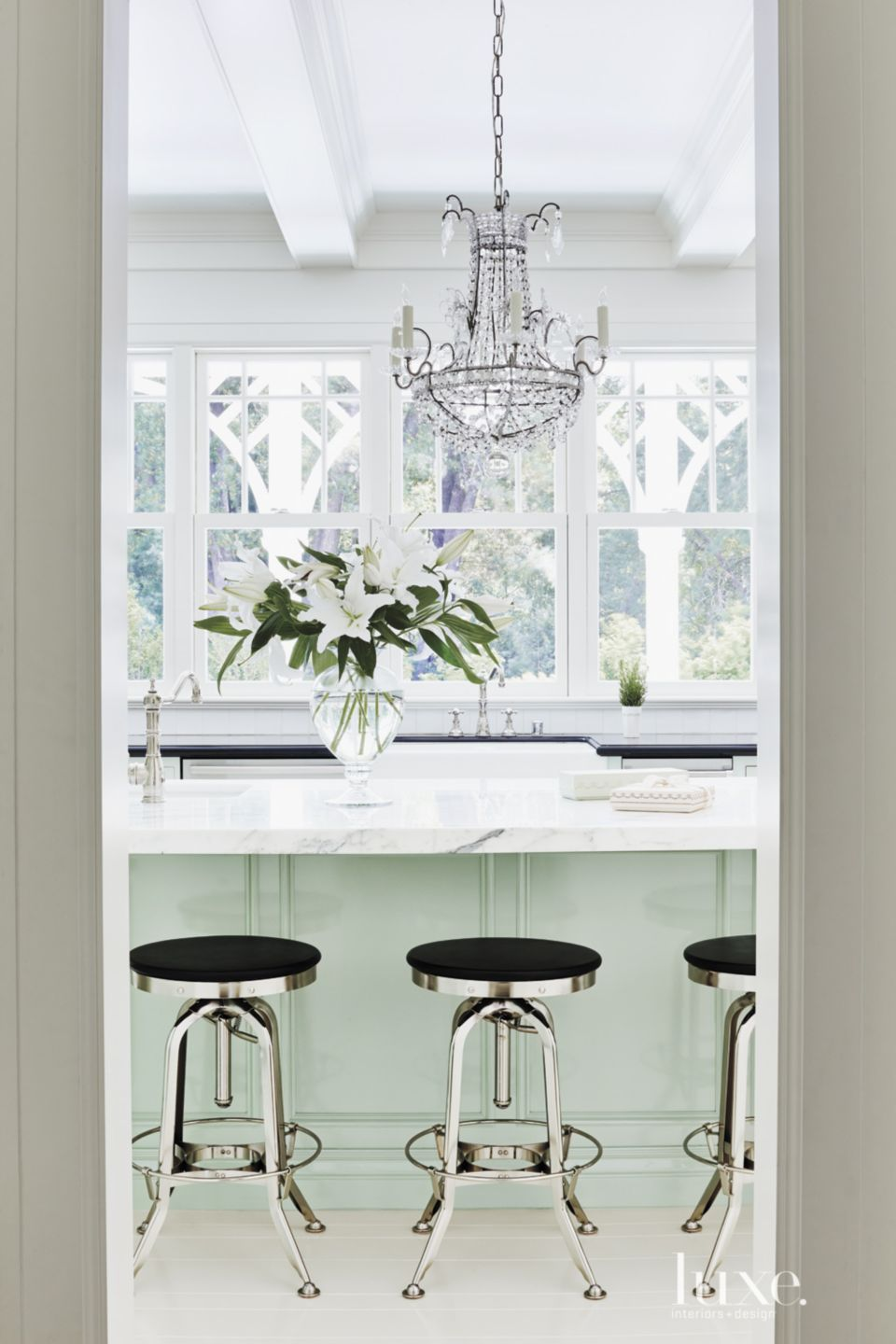 Contemporary Turquoise Kitchen Island