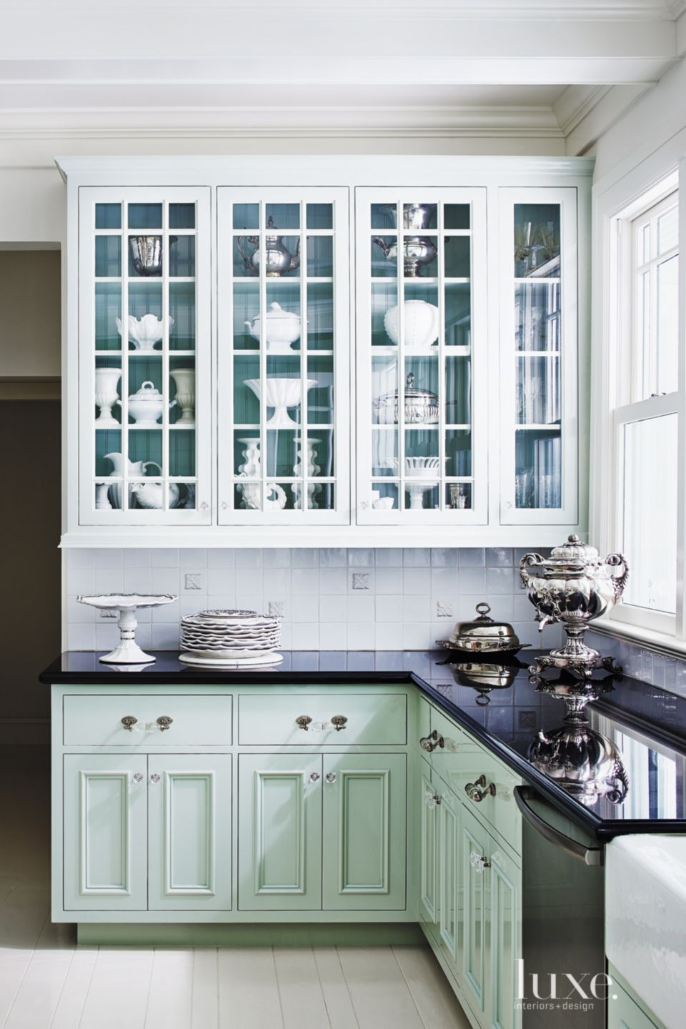 Contemporary Turquoise Kitchen Cabinetry