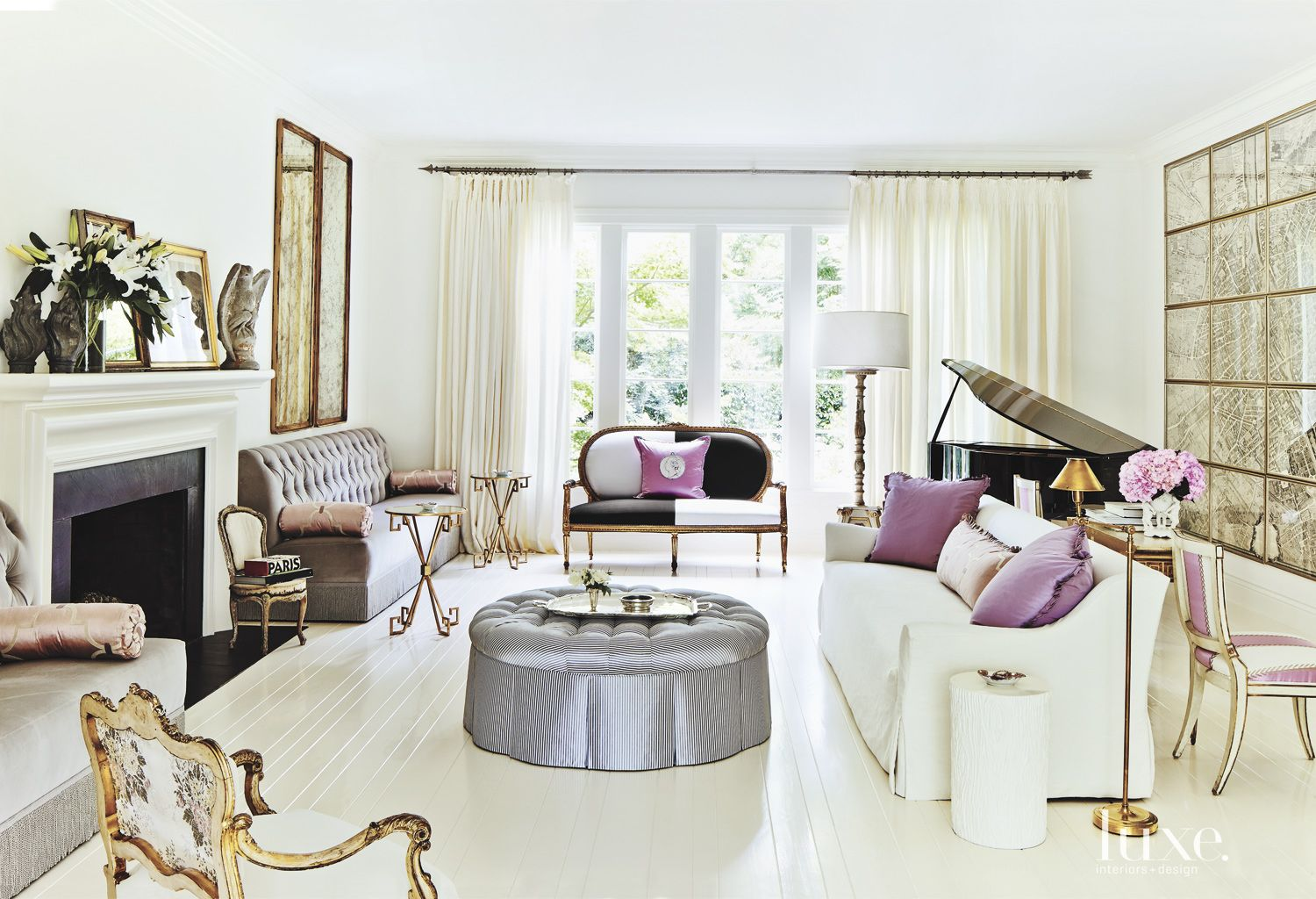 Contemporary White Living Room with Purple Accents